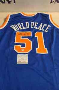 Ron Artest/Metta World Peace Signed New York Knicks Jersey PSA Bulls Lakers