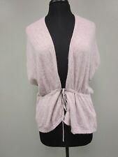 Zara Sweater Cover Up Angora Tie Front Short Sleeve Beige Women's Size M Euc