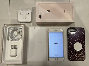 Apple iPhone 8 Plus 256GB Rose Gold Unlocked w/ Charger, Otterbox Case with Grip
