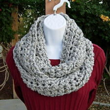 GRAY INFINITY SCARF Light Grey Tweed Wool Blend Handmade Crochet Knit Loop Cowl