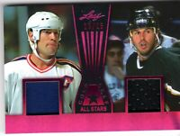 MIKE MESSIER / MIKE MODANO 2017-18 Leaf Gold Leaf All-Stars DUAL JERSEY #15/25
