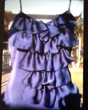 Ladies Purple Top Size 8 Hot Options Silky Ruffles Elastic Waist Hot For Summer