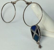 Vintage Rare Sterling Silver Inlaid Stone Longnette Folding Eye Glasses (c114)