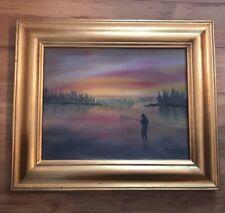 Original Framed Oil Fly Fishing SIGNED MILLETTE gold frame