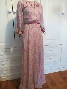 Vintage Liberty London Prairie Syle Floral Maxi Dress XS 8