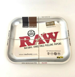 RAW Silver Metallic Medium Metal Rolling Tray 340mm x 280mm w/Certificate