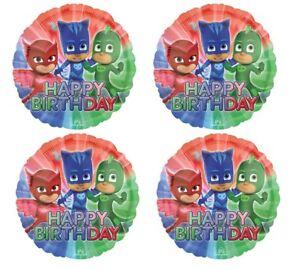 "4x 18"" PJ Masks Happy Birthday Blue Foil Mylar Balloon Party Supply Decoration"