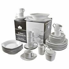 White 45PC Dinnerware Table Set Service for 8 Square Dishwasher Microwave Safe