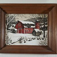 Vintage Framed Folk Art Winter Snow Scene Oil Painting Red Barn Cabin Rustic