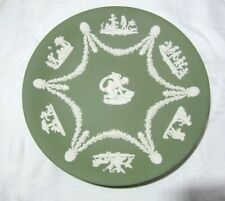 Wedgwood Green Jasperware Plate with Cherubs - 8.75""