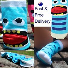 Turquoise / Cyan & blue Monster socks - cheeky tongue monsters novelty sock gift