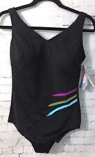 Anita Care Mastectomy Swimsuit Swimwear Black Stripe One Piece C Cup 14 NEW $89