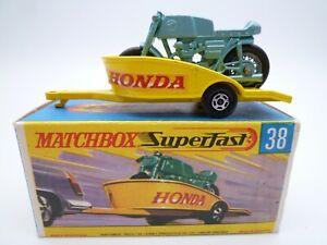 VINTAGE MATCHBOX SUPERFAST No.38c HONDA MOTOR CYCLE TRAILER IN ORIGINAL BOX 1970
