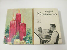 Vintage Mcm Richard Bauer Painted by Mouth Christmas Cards in Boxed (10 Cards)