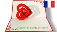 Coeur-carte pop up 3D voeux amour, Valentin
