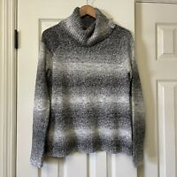 Columbia Womens Sweater  Large Black White Gray Fade Cowl Turtle Neck Knit Top
