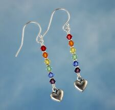 Crystal Rainbow and Pewter Hearts Earrings - sterling silver hooks- LGBTQ Pride
