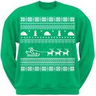 Santa Sleigh Ugly Christmas Sweater Green Adult Men's Crew Neck Sweatshirt