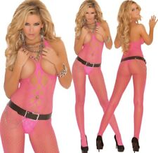 Elegant Moments Pink Body Diamond Net Open Crotch & Bust Bodystocking One Size