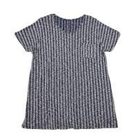 Woman Within Rib Knit Textured Tunic Top Womens Sz 14 16 Blue Cap Sleeve Pocket