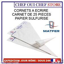 cornet de pâtisserie à écriture en papier sulfurisé (carnet de 25) - MATFER -