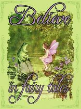 Believe in Faries Faerie Fairy with Toad Magic Pixie Metal Sign