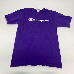 Champion T Shirt Men's Large Short Sleeve Purple Crew Neck Script Logo Cotton