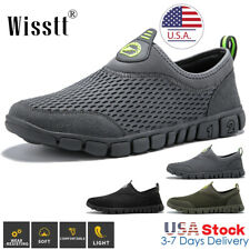 Mens Running Walking Shoes Sports Hiking Mesh Sneakers Slip On Outdoor Casual