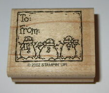Snowman Trio To From Rubber Stamp Gift Tag Stampin' Up! EUC Retired Snowmen