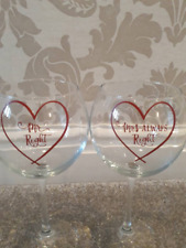 set of 2 very large balloon wine glasses   Mr right    Mrs always right