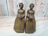 Antique La Belle Chocolatiere Baker Chocolate Company Cast Iron Bookends