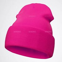 New Beanie Hat Mens Ladies Slouch Winter Woolly Ski Knitted Turn Up Neon Unisex