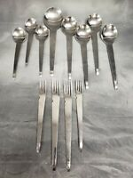 Lot of 12 pcs Retroneu TREK Stainless Flatware Modern Modernist Korea Spoon Fork