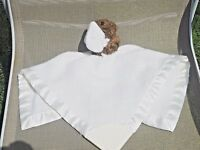Dolly Security Blanket Lovey White with Brown Bear Rattle Very Soft VGC!!!