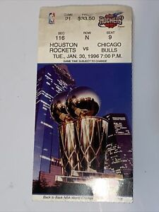 Original Jan 30 1996 Houston Rockets Vs Chicago Bulls Game # 21 Official Ticket