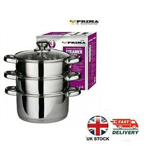 3 Tier Stainless Steel Steamer Cooker Pot Set Pan Cook Food Glass Lids 22cm