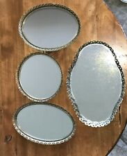 Vintage Ornate Gold Tone Metal Filigree Mirror Vanity Dresser Tray 4pc LOT
