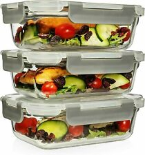6 Piece 22 Oz Superior Glass Food Storage Containers (Set of 3) Retails $29.99
