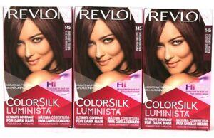 3 Revlon ColorSilk Luminista For Dark Hair 145 Burgundy Brown Permanent Color