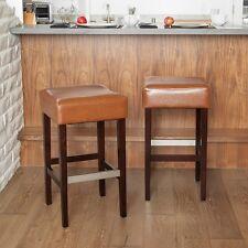 Set of 2 Stylish Hazelnut Leather Backless Bar Stools w/ Metal Footrest Cover