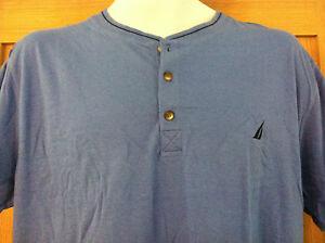 Nautica Sleepwear Shirt~3 Button Front~Blue with Navy Trim~Size M~NWT
