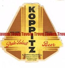1940s IRTP MICHIGAN Detroit KOPPITZ PALE SELECT BEER 12oz Label