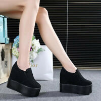 Fashion Women's Round Toe Platform Shoes Wedge Slip On Creepers Sneakers