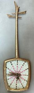 Vintage 50s 60s Musical Instrument Mosaic Wall Hanging Clock Mid Century Modern