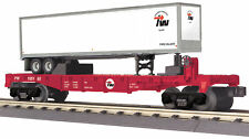 MTH RailKing Trains Providence Worcester Flat Car With Trailer O Gauge 30-76634