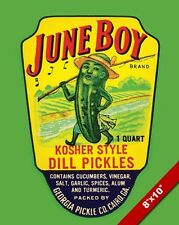 VINTAGE JUNEBOY KOSHER DILL PICKLES FOOD POSTER PAINTING ART REAL CANVAS PRINT