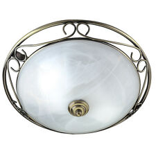 Searchlight 6436 Antique Brass Flush Light With Marble Glass Diffuser