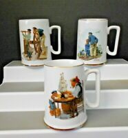 THREE NORMAN ROCKWELL 1985 MUSEUM PORCELIN COFFEE CUPS GOLD TRIM PRE-OWNED JAPAN