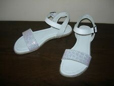 CLARKS WOMEN'S SANDALS STRAPPY FLAT WHITE LEATHER MOTHER OF PEARL EU 39 / UK 5.5