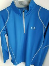 Men's Under Amour Infrared ¼ Zip Pullover Blue/ Silver Fitted Large